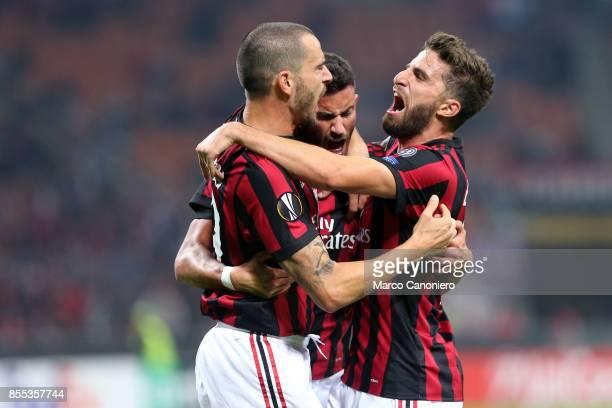 Mateo Musacchio celebrates with teammates Leonardo Bonucci and Fabio Borini after scoring a goal during the UEFA Europa League group D football match...