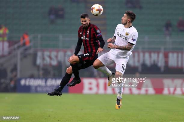 Mateo Musacchio of Ac Milan and Marko Livaja of AEK Athens in action during the UEFA Europa League group D football match between AC Milan and AEK...