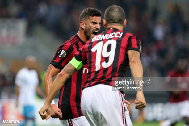 Mateo Musacchio of Ac Milan celebrate after scoring a goal with his teammate Leonardo Bonucci during the UEFA Europa League group D football match...