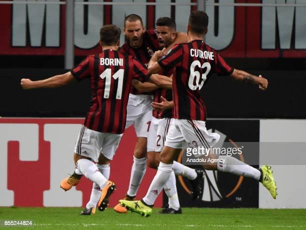 Mateo Musacchio of AC Milan celebrates his first goal during the UEFA Europa League match between AC Milan and Hrvatski Nogometni Klub Rijeka at...