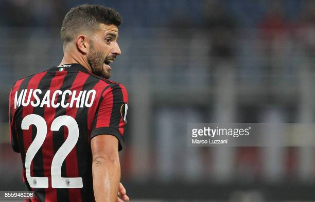 Mateo Musacchio of AC Milan celebrates his goal during the UEFA Europa League group D match between AC Milan and HNK Rijeka at Stadio Giuseppe Meazza...