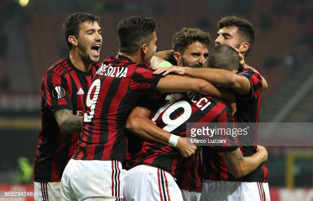 Mateo Musacchio of AC Milan celebrates his goal with his teammates during the UEFA Europa League group D match between AC Milan and HNK Rijeka at...