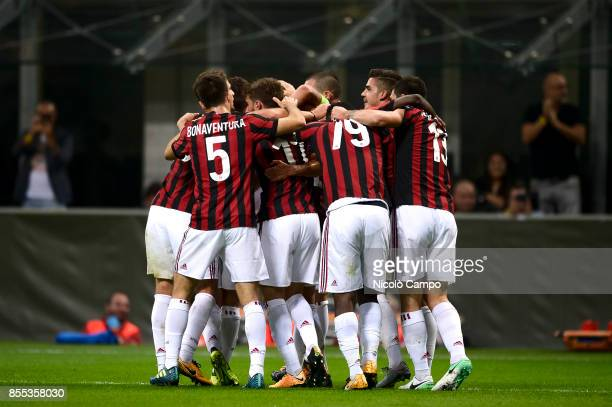 Mateo Musacchio of AC Milan celebrates with his team mates after scoring a goal during the UEFA Europa League Group D match between AC Milan and HNK...