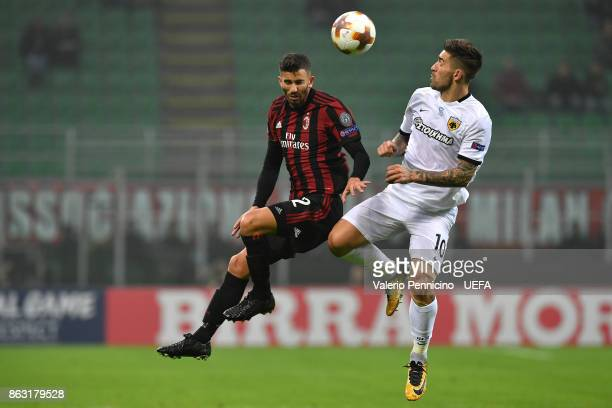 Mateo Musacchio of AC Milan clashes with MarkoLivaja of AEK Athens during the UEFA Europa League group D match between AC Milan and AEK Athen at on...