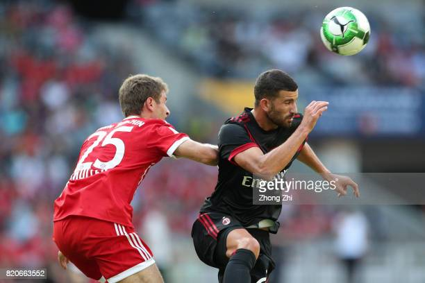 Mateo Musacchio of AC Milan in action against Thomas Muller of FC Bayern during the 2017 International Champions Cup football match between AC Milan...