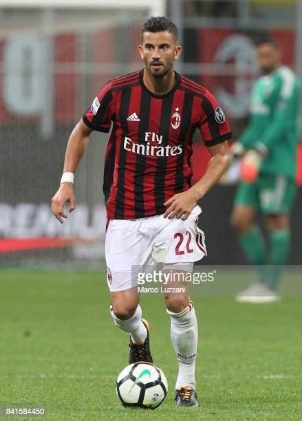 Mateo Musacchio of AC Milan in action during the Serie A match between AC Milan and Cagliari Calcio at Stadio Giuseppe Meazza on August 27 2017 in...