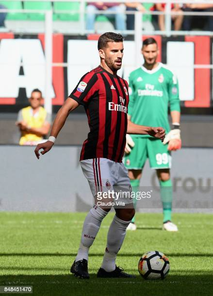 Mateo Musacchio of AC Milan in action during the Serie A match between AC Milan and Udinese Calcio at Stadio Giuseppe Meazza on September 17 2017 in...