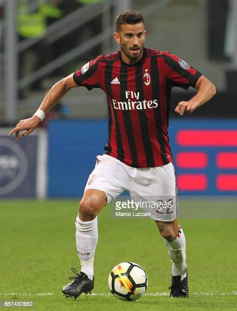 Mateo Musacchio of AC Milan in action during the Serie A match between AC Milan and AS Roma at Stadio Giuseppe Meazza on October 1 2017 in Milan Italy