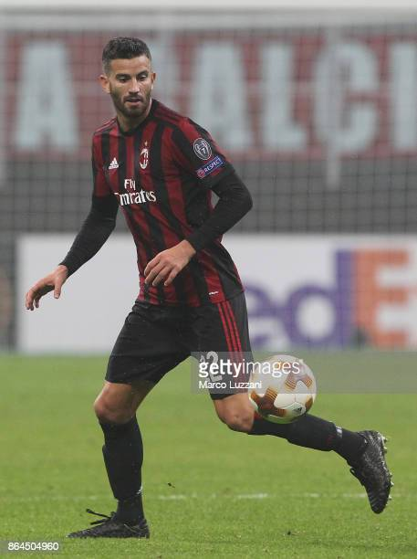 Mateo Musacchio of AC Milan in action during the UEFA Europa League group D match between AC Milan and AEK Athens at Stadio Giuseppe Meazza on...