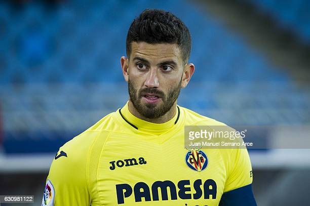 Mateo Musacchio of Villarreal CF looks on prior to the start the Copa del Rey Round of 16 first leg match between Real Sociedad de Futbol and...