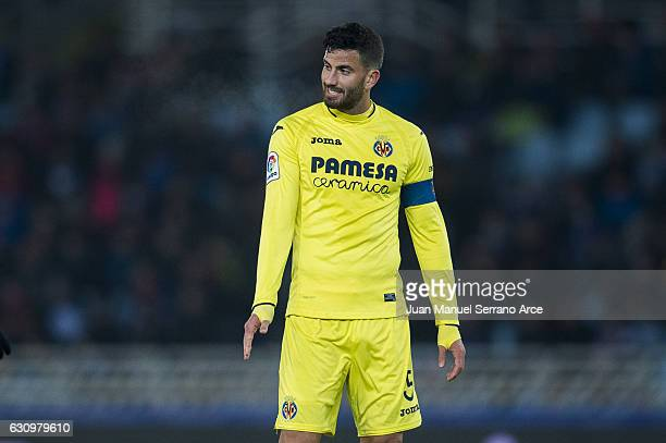 Mateo Musacchio of Villarreal CF reacts during the Copa del Rey Round of 16 first leg match between Real Sociedad de Futbol and Villarreal CF at...
