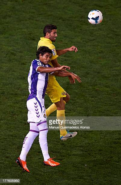 Mateo Musacchio of Villarreal competes for the ball with Osorio of Real Valladolid during the La Liga match between Villarreal CF and Real Valladolid...