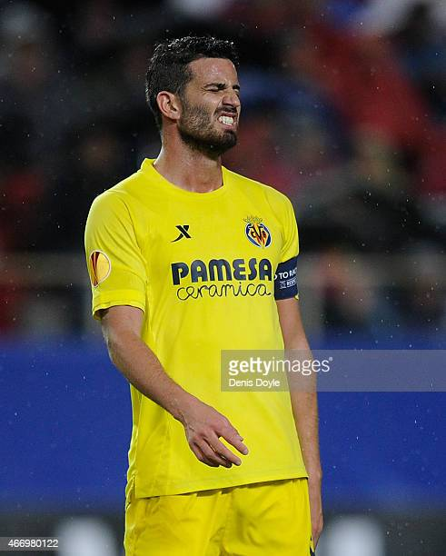 Mateo Musacchio of Villarreal reacts during the UEFA Europa League Round of 16 Second Leg match between FC Sevilla and Villarreal CF at Estadio Ramon...