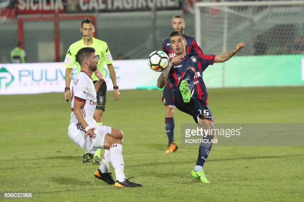 Mateo Pablo Musacchio defender Milan and Adrian Marius Stoian midfielder of Crotone during the Serie A match between FC Crotone v AC Milan Milan won...