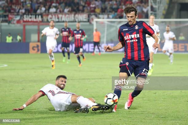 Mateo Pablo Musacchio defender Milan and Ante Budimir Crotone striker during the Serie A match between FC Crotone v AC Milan Milan won 30