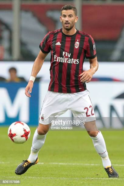 Mateo Pablo Musacchio of AC Milan in action during the UEFA Europa League Third Qualifying Round Second Leg match between AC Milan and CSU Craiova at...