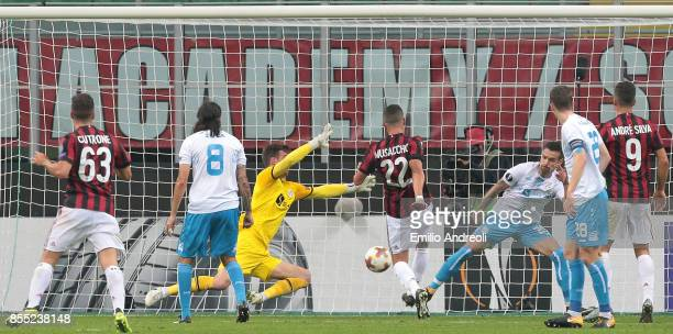 Mateo Pablo Musacchio of AC Milan scores his goal during the UEFA Europa League group D match between AC Milan and HNK Rijeka at Stadio Giuseppe...