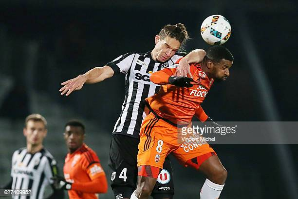 Mateo Pavlovic of Angers and Cafu of Lorient during the Ligue 1 match between Angers SCO and FC Lorient on December 3 2016 in Angers France