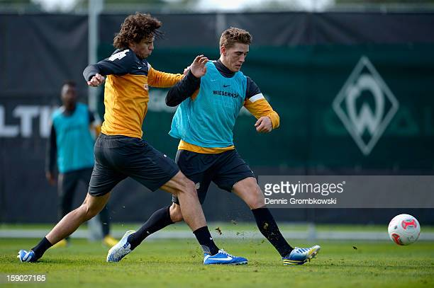 Mateo Pavlovic of Bremen challenges teammate Nils Petersen during a training session at day two of the Werder Bremen Training Camp on January 6 2013...