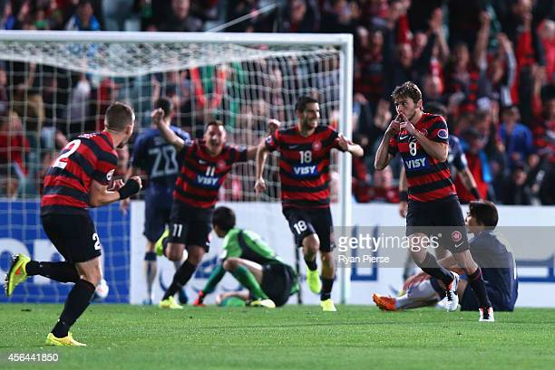 Mateo Poljak of the Wanderers celebrates after scoring his teams first goal during the Asian Champions League semi final leg 2 match between the...