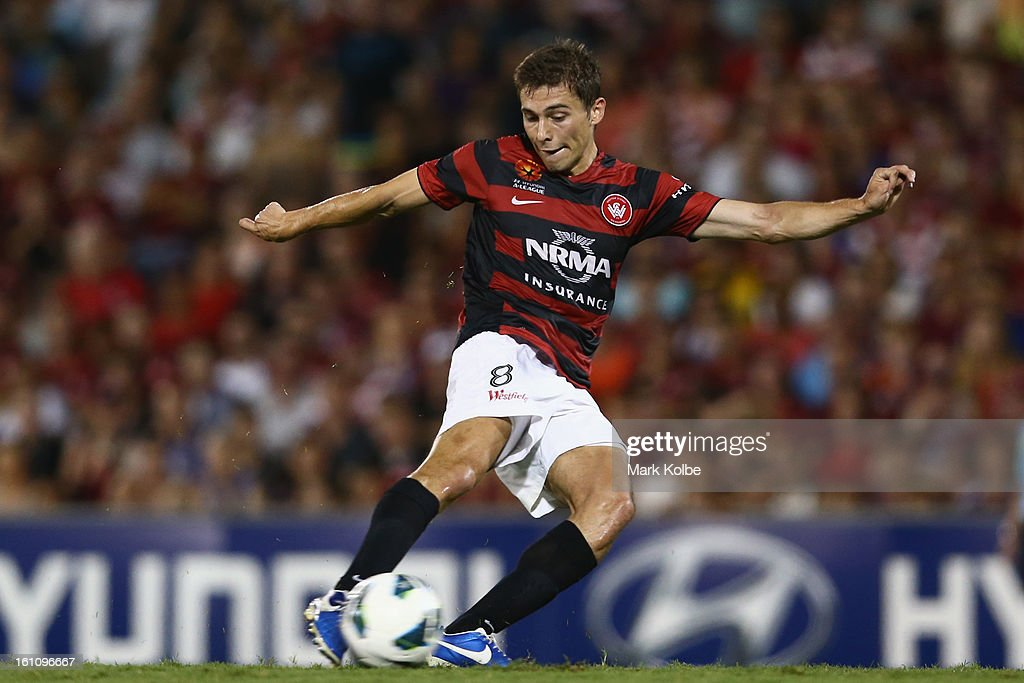 Mateo Poljak of the Wanderers shoots at goal during the round 20 A-League match between the Western Sydney Wanderers and the Newcastle Jets at Campbelltown Sports Stadium on February 9, 2013 in Sydney, Australia.