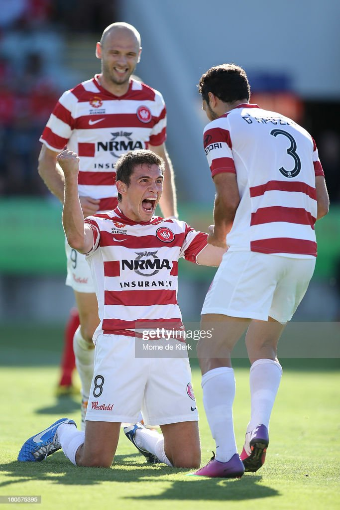 Mateo Poljak (C) of Western Sydney celebrates after scoring a goal during the round 19 A-League match between Adelaide United and the Western Sydney Wanderers at Hindmarsh Stadium on February 3, 2013 in Adelaide, Australia.
