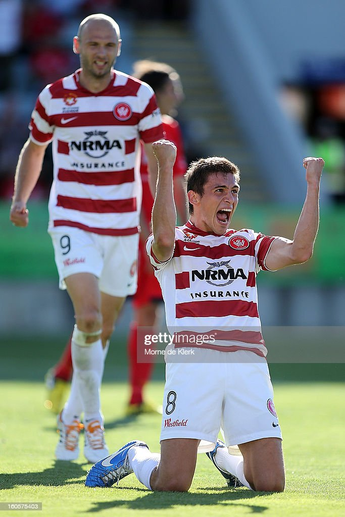 Mateo Poljak of Western Sydney celebrates after scoring a goal during the round 19 A-League match between Adelaide United and the Western Sydney Wanderers at Hindmarsh Stadium on February 3, 2013 in Adelaide, Australia.