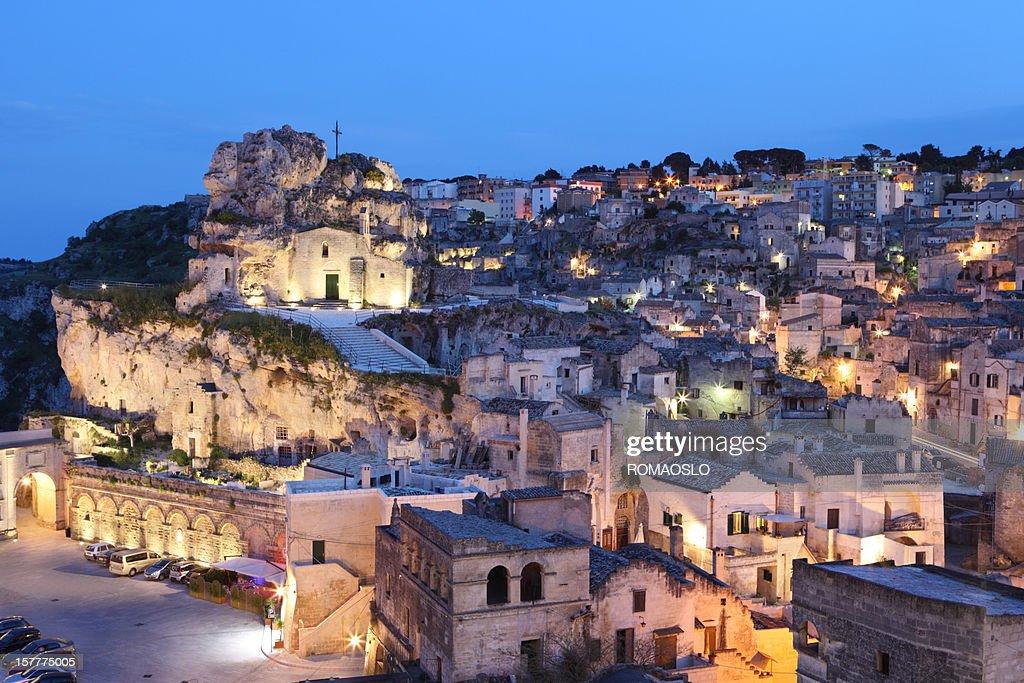 Matera Sassi cityscape by night, Basilicata Italy : Stock Photo