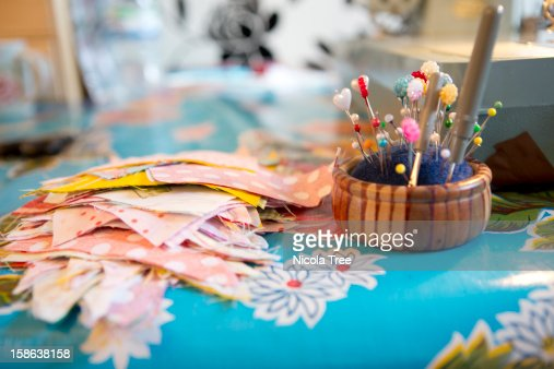 Material by a sewing machine : Stock Photo