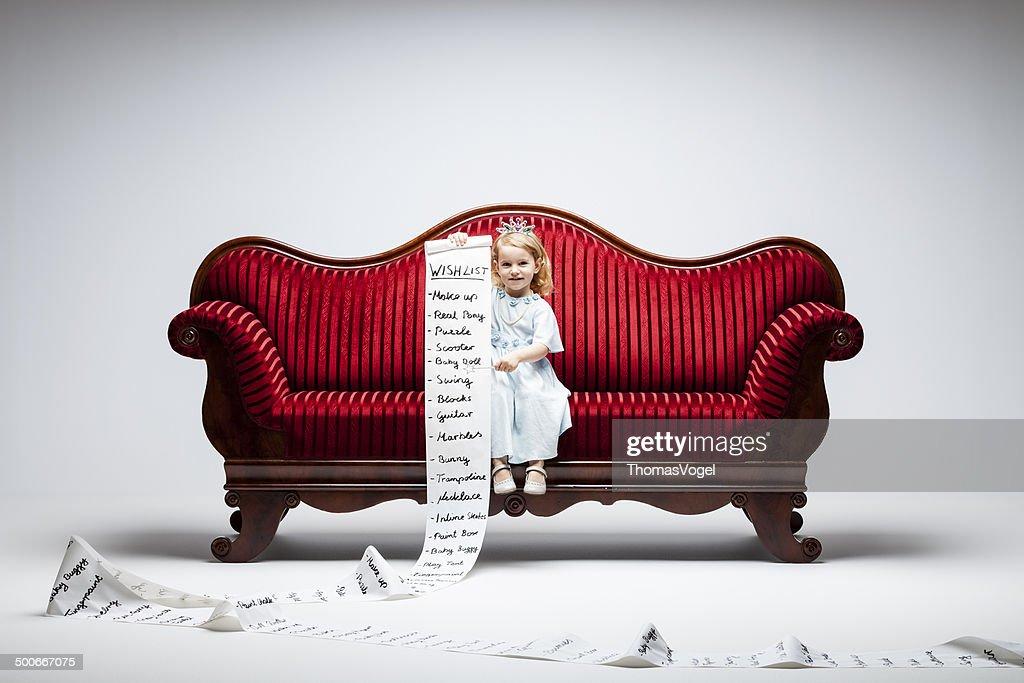 Matériau fille -Princess liste de souhaits humour enfant canapé Société de consommation : Photo