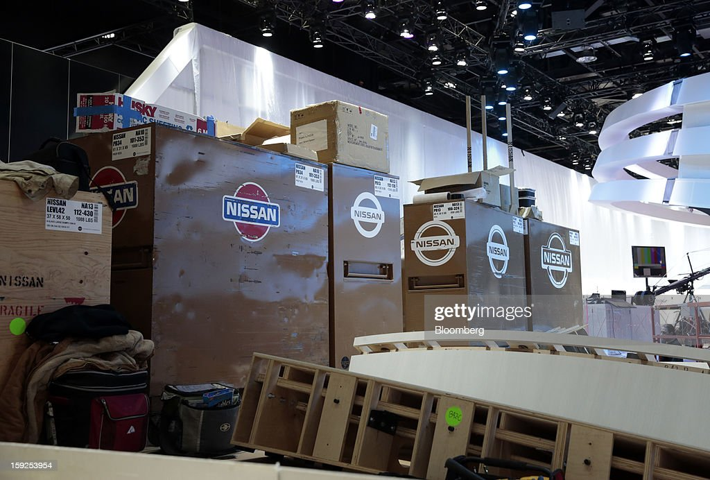 Materials for the Nissan Motor Co. Ltd. exhibit sit during an advance tour of the North American International Auto Show (NAIAS) at Cobo Hall in Detroit, Michigan, U.S., on Thursday, Jan. 10, 2013. More than 23,000 attendees representing almost 2,000 companies are expected to attend the industry preview for NAIAS on Jan. 16-17. The general public can attend the show from Jan. 19-27. Photographer: Jeff Kowalsky/Bloomberg via Getty Images