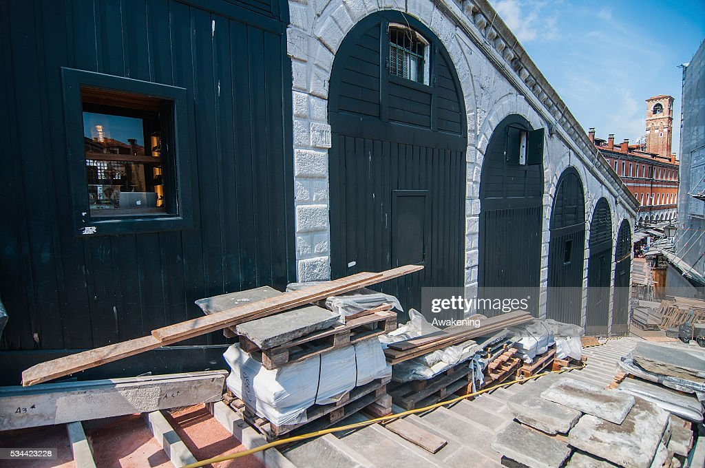 Materials rest in the ground during the renovation of the Rialto Bridge on May 26, 2016 in Venice, Italy. Site visits were organized to see the renovation of the Rialto bridge to coincide with the 15th Biennale of Architecture in Venice.