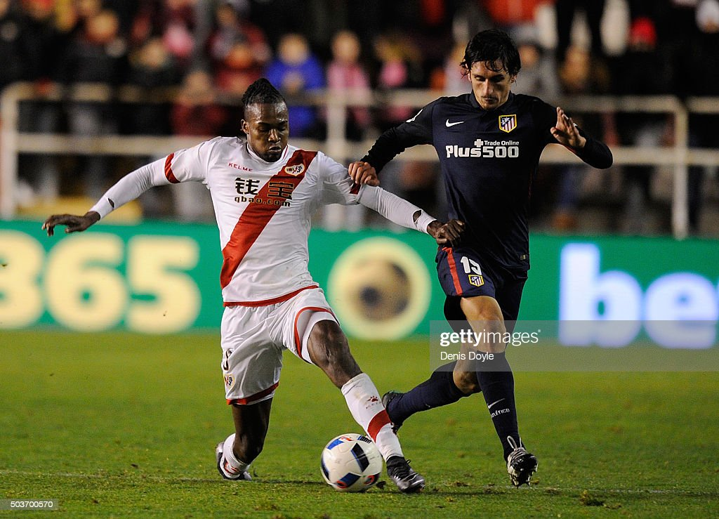 Mateus Alberto Contreiras 'Manucho' of Rayo Vallecano de Madrid tackled <a gi-track='captionPersonalityLinkClicked' href=/galleries/search?phrase=Stefan+Savic&family=editorial&specificpeople=6135329 ng-click='$event.stopPropagation()'>Stefan Savic</a> of Club Atletico de Madrid during the Copa del Rey, Round of 16 First Leg match, between Rayo Vallecano de Madrid and Club Atletico de Madrid at Estadio de Vallecas on January 6, 2016 in Madrid, Spain.