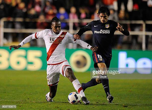 Mateus Alberto Contreiras 'Manucho' of Rayo Vallecano de Madrid tackled Stefan Savic of Club Atletico de Madrid during the Copa del Rey Round of 16...