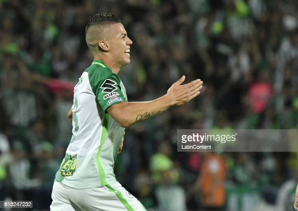 Mateus Andres Uribe of Atletico Nacional celebrates after scoring the second goal of his team during the Final second leg match between Atletico...