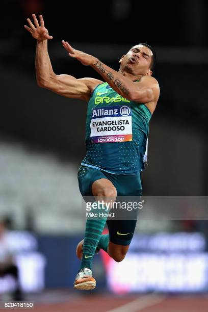 Mateus Evangelista Cardoso of Brazil competes in the Mens long jump T37 final during day eight of the IPC World ParaAthletics Championships 2017 at...