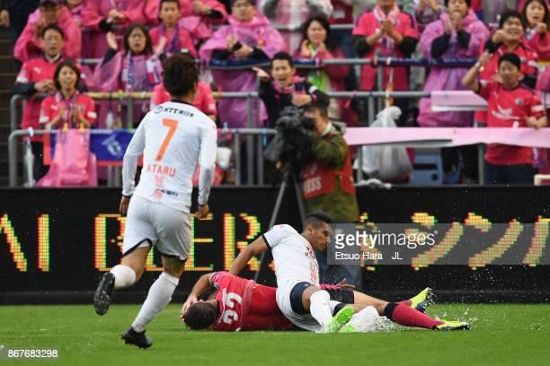 Mateus of Omiya Ardija fouls on Matej Jonjic of Cerezo Osaka resulting in the red card during the JLeague J1 match between Cerezo Osaka and Omiya...