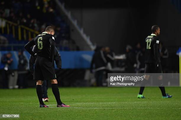Mateus Uribe of Atletico Nacional discouraged after the loss during semifinal Atletico Nacional vs Kashima Antlers at Suita City Football Stadium on...