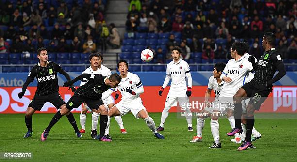 Mateus Uribe Villa of Atletico Nacional heads at goal during the FIFA Club World Cup Semi Final match between Atletico Nacional and Kashima Antlers...