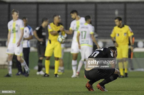 Mateus Vital of Vasco da Gama reacts after the draw in the match between Vasco da Gama and Chapecoense as part of Brasileirao Series A 2017 at Sao...