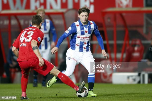 Mateusz Klich of FC Twente Arber Zeneli of SC Heerenveenduring the Dutch Eredivisie match between FC Twente and sc Heerenveen at the Grolsch Veste on...