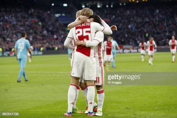 Mateusz Klich of FC Twente Davy Klaassen of Ajax Kasper Dolberg of Ajax Amin Younes of Ajaxduring the Dutch Eredivisie match between Ajax Amsterdam...