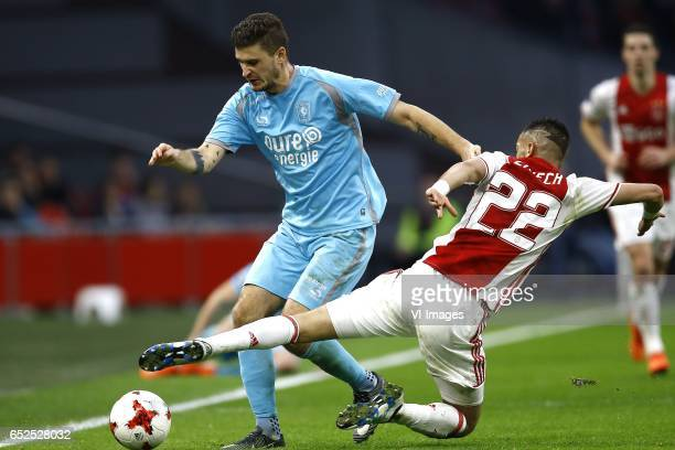 Mateusz Klich of FC Twente Hakim Ziyech of Ajax Amsterdamduring the Dutch Eredivisie match between Ajax Amsterdam and FC Twente Enschede at the...