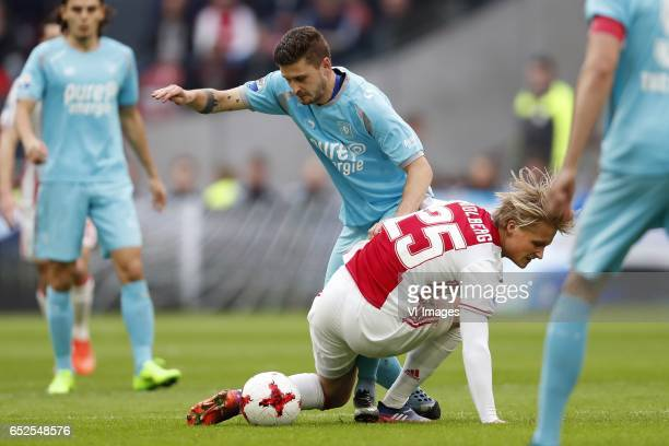 Mateusz Klich of FC Twente Kasper Dolberg of Ajaxduring the Dutch Eredivisie match between Ajax Amsterdam and FC Twente Enschede at the Amsterdam...