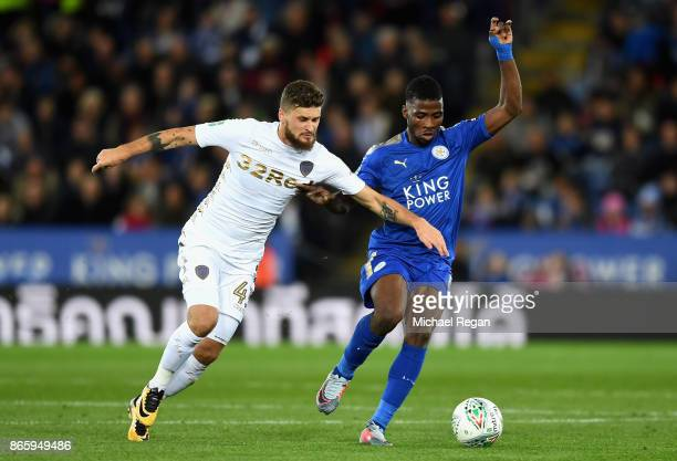 Mateusz Klich of Leeds United and Kelechi Iheanacho of Leicester City during the Caraboa Cup Fourth Round match between Leicester City and Leeds...