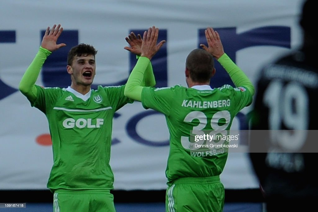 Mateusz Klich of Wolfsburg celebrates after scoring during the friendly match between Werder Bremen and VfL Wolfsburg at Mardan Palace Stadium on January 9, 2013 in Kundu, Turkey.