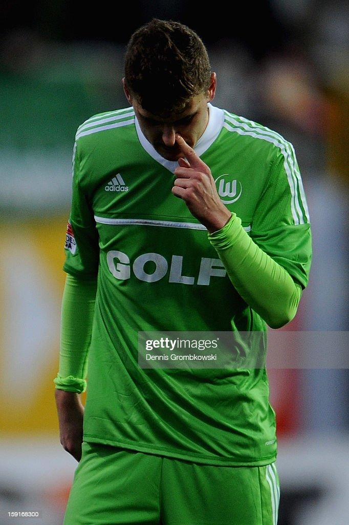 Mateusz Klich of Wolfsburg reacts during the friendly match between Werder Bremen and VfL Wolfsburg at Mardan Palace Stadium on January 9, 2013 in Kundu, Turkey.