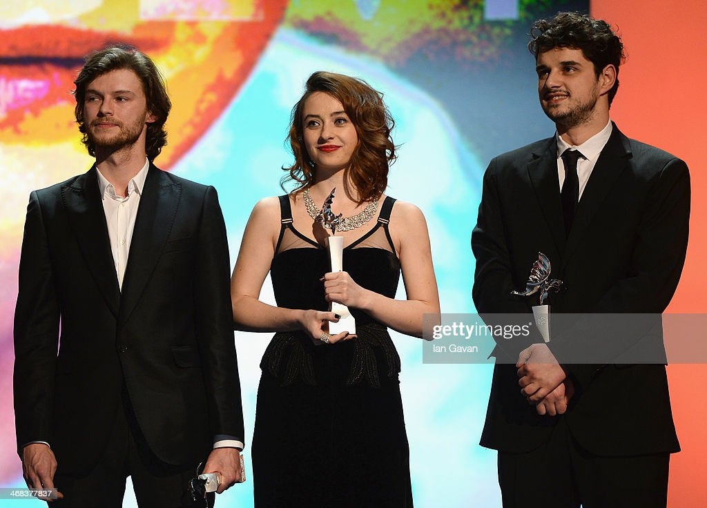 Mateusz Kosciukiewicz, Cosmina Stratan and Nikola Rakocevic on stage at the Shooting Stars stage presentation during the 64th Berlinale International Film Festival at the Berlinale Palast on February 10, 2014 in Berlin, Germany.