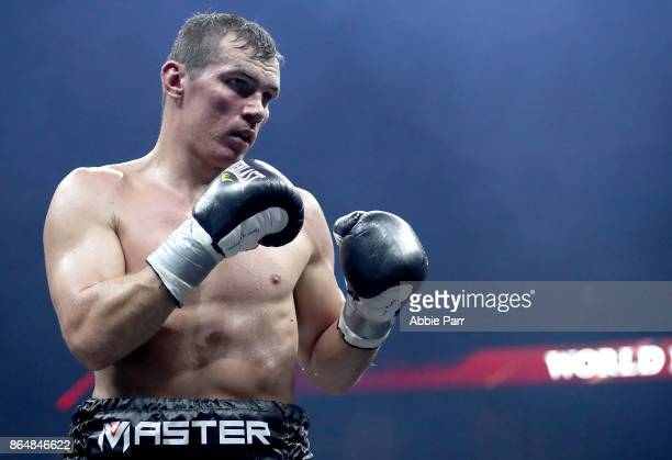 Mateusz Masternak takes on Stivens Bujaj during their CoMain Cruiserweight fight at Prudential Center on October 21 2017 in Newark New Jersey