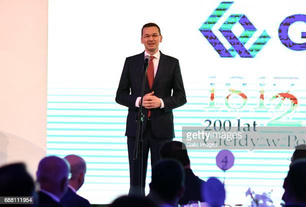 Mateusz Morawiecki participates in the Jubilee Gala of the 200th anniversary of the Warsaw Stock Exchange on May 24 2017 in Warsaw Poland During the...